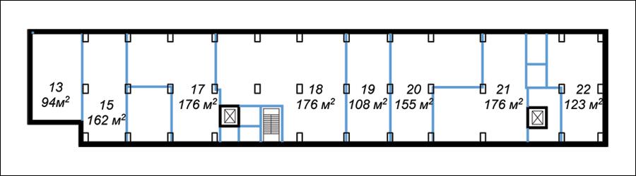 Октябрьская наб., 44. Складские помещения, 1-й этаж, правое крыло